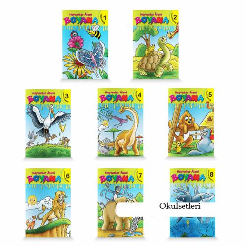 1.Sınıf ve Okul Öncesi Hayvanlar Alemi Boyama 8 Kitap