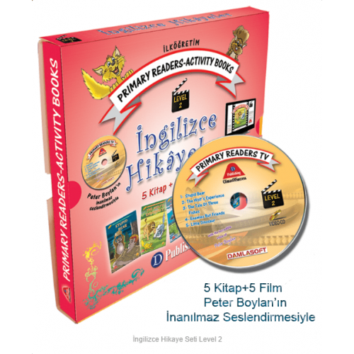 3 ve 4.Sınıf İngilizce Hikaye Seti Level-2 5 Kitap 1 CD